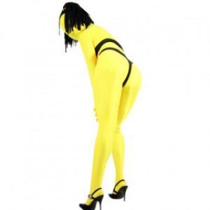 イエロー 女性 ライクラ ウィッグ付 全身タイツ衣装