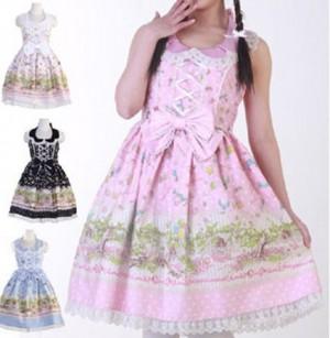 小鳥と少女 森の散歩柄 ジャンパースカート ゴスロリ ロリータ パンク コスプレ コスチューム メイド衣装