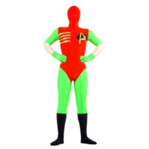 レッド/グリーン 混色 ライクラ 全身タイツ衣装