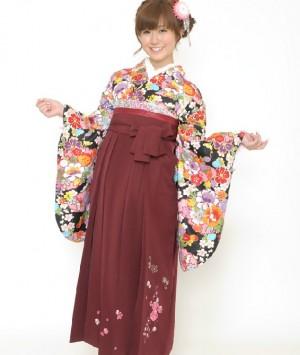 二尺袖 着物 袴4点セット 黒 桜 鹿の子 卒業式 はかま
