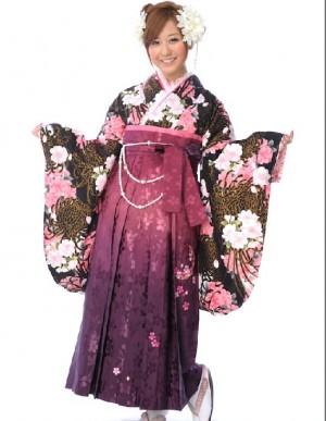 二尺袖 着物 袴4点セット 黒 乱菊 桜 紫 卒業式 謝恩会