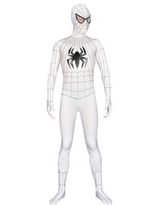 ホワイト メタリック スパイダーマン 全身 タイツ衣装