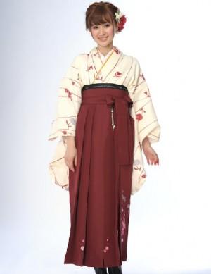 二尺袖 着物 袴4点セット アイボリー よろけ縞 牡丹 臙脂 卒業式におすすめな袴