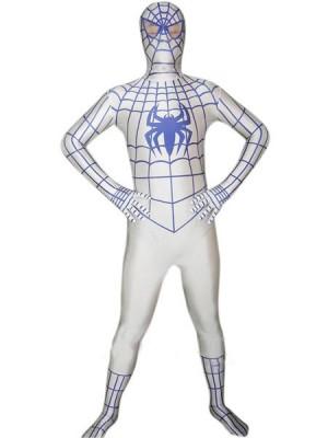 ホワイト ライクラ スパンデックス スパイダーマン 全身タイツ衣装