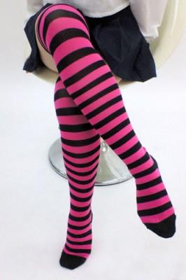 ボーダーニーハイ1cm 色:ピンク×黒 サイズ:フリー