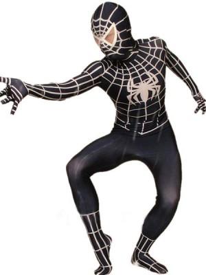 ホワイトとブラック ライクラ スパンデックス スパイダーマン 全身タイツ衣装