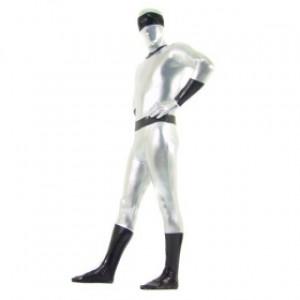 シルバー/ブラック 混色 シャイニー メタリック スパンデックス 全身タイツ衣装
