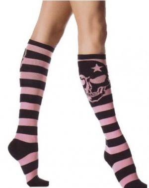 ドクロハイソックス 色:ピンク サイズ:フリー