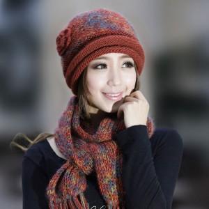 新品ウール 帽子マフラー2セットレディース冬帽あったか