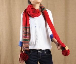 女秋冬防寒用カワイイケーブル編みマフラー 厚手 マフラーレッド フリト付マフラー
