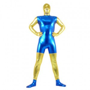 ブルー/ゴールデン 混色 シャイニー メタリック スパンデックス 全身タイツ衣装