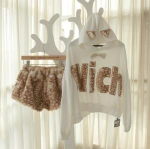 可愛い秋冬スーツ ヒョウ柄アルファベットwich パーカー 鹿斑点パンツ