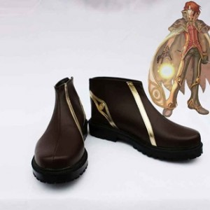 ラグナロクオンライン ウィザード ブラウン 合皮 ゴム底 低ヒール コスプレ靴