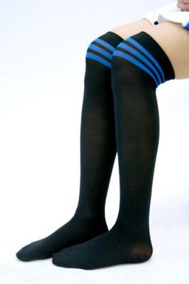 黒ベーストップラインオーバーニー 色:青 サイズ:フリー