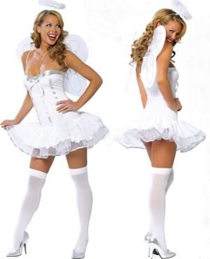 ホワイト 天使風 翼 リボン付き セクシー コスチューム衣装