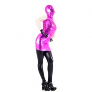 フクシア/ブラック 混色 シャイニー メタリック 女性 スパンデックス 全身タイツ衣装