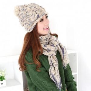 新品冬あったか2セット 上品2色毛糸帽子帽子マフラー プレゼント