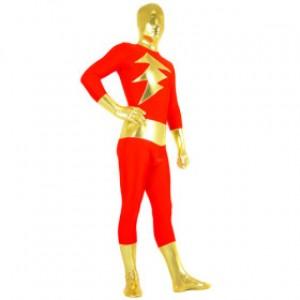 レッド/ゴールデン 混色 シャイニー メタリック スパンデックス 全身タイツ衣装
