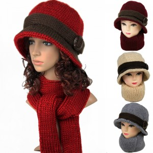 新品シンプル帽子+マフラー2セット中老人用レディース毛糸帽子ニット 5色