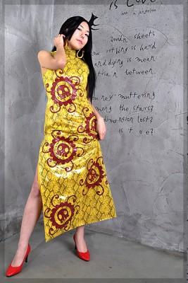 ONE・PIECE・ボア・ハンコック・チャイナドレス・イエロー衣装