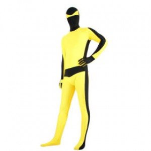 イエロー/ブラック 混色 ライクラ 全身タイツ衣装