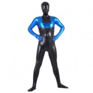 ブルー/ブラック 混色 シャイニー メタリック スパンデックス 全身タイツ衣装