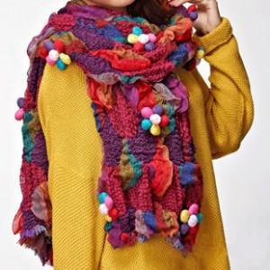 韓国風秋冬 女韓派ファッションマフラー毛糸マフラースヌード カラフル フリンジ