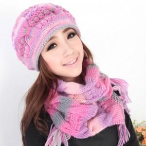 韓派女冬あったかカシミヤ帽子+マフラー2セットレディースカワイイ耳覆い帽子