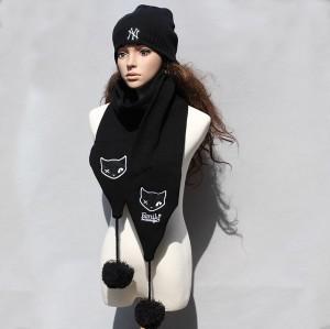 韓派冬帽子+マフラー2セットレディースあったか