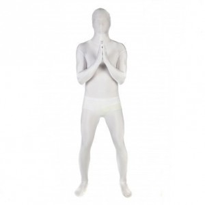 白のフルボディユニセックスライクラスパンデックス全身タイツスーツ