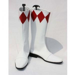 コスプレ通用ブーツ Red Rangers 白 赤 ミドルブーツ 合皮 ゴム底 低ヒール コスプレブーツ