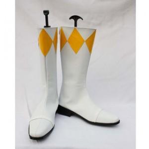 コスプレ通用ブーツ Yellow Rangers 白 黄 ミドルブーツ 合皮 ゴム底 低ヒール コスプレブーツ