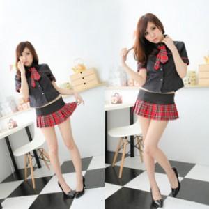 女子学生 セクシー チェック柄 スカート コスチューム 3点セット衣装