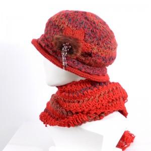 秋冬レディース毛糸帽子マフラー2セットニットマフラーあったか