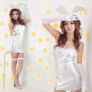 誘惑系 ホワイト ポリエステル バニーガール服 3点セット衣装