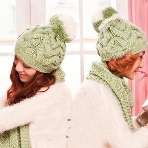 冬レディースフリル毛糸帽子マフラー2セット