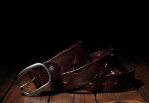 ヴィンテージ メンズ牛革バンド日製バックルカジュアルベルト