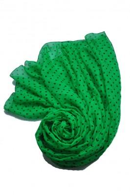 小さいドット スカーフ ピュアシルク ショール  蚕糸