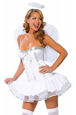 セクシー ホワイト 3セット エンジェルコスチューム衣装