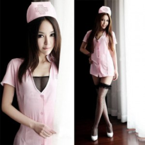 ピンク Vネック ポリエステル ナース服 3点セット衣装