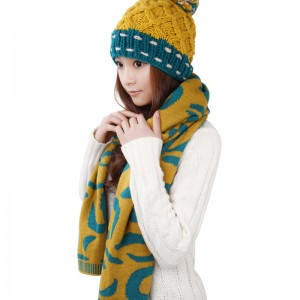 秋冬あったかカワイイイエローレディース帽子マフラー2セット