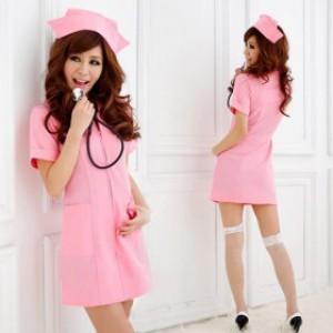 清純風 ピンク ポリエステル ショート丈 ナース服 2点セット衣装