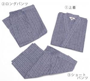 安心の日本製綿生地の高級紳士用男性用甚平3点セット【青系/灰色系】
