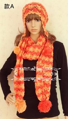 編みあったかマフラー帽子/小顔
