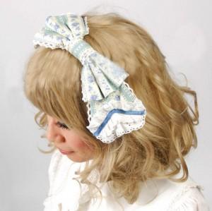 8mmドールスタイル 青い小花柄のノベルティストライプカチューシャ【ヘアアクセサリー/ゴスロリ/クラシカル】