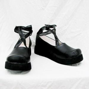 厚底 ブラック 合皮 ゴム底 コスプレ靴