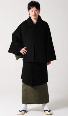 【男物/メンズ/紳士用】二重回し和装コート/トンビコート/インバネスインバネ風《表地黒-裏地黒無地》ウールとポリエステル