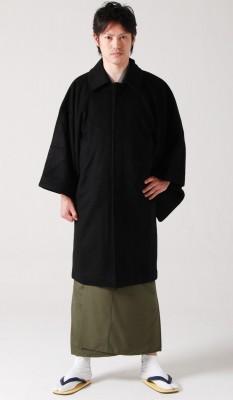 【男物/メンズ/紳士用】角袖コート《表地黒-裏地黒無地》ウールとポリエステル