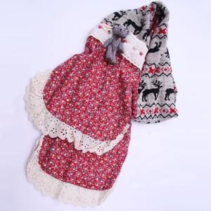 秋冬クリスマス鹿模様マフラー 手作り民族風 レース花柄刺繍入り 女リネンマフラー