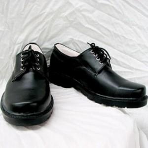 ブラック 合皮 ゴム底 コスプレ靴